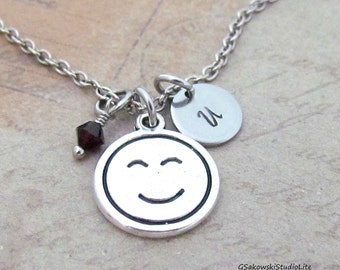 Smiley Face Charm Necklace, Personalized Antique Silver Hand Stamped Initial Monogram Birthstone Smiley Face Charm Necklace