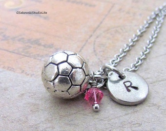 Soccer Ball Charm Necklace, Personalized Antique Silver Hand Stamped Initial Monogram Birthstone Soccer Necklace