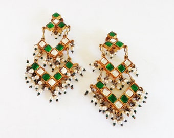 JUST REDUCED! Earrings Crytals Pearls & Beads Clip on Vintage 1950's
