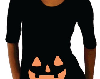 Maternity Halloween shirt with jack o lantern face.  Halloween shirt, maternity clothes