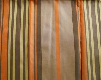 Vintage 1950s Fabric: Orange, Brown, and Yellow Striped Taffeta 1 Yard