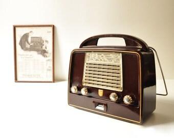 Midcentury Philips Bakelite Tube Radio - Model LX437AB