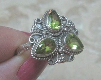 Triple Peridot Sterling Silver Ring Size 8