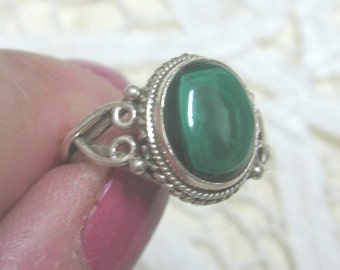 Malachite Sterling Silver Ring Sizes 4 and 5 1/2
