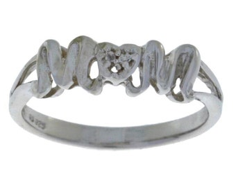 Mom Diamond Ring Mother's Day .925 Sterling Silver