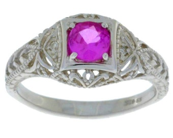 Pink Sapphire & Diamond Round Ring .925 Sterling Silver