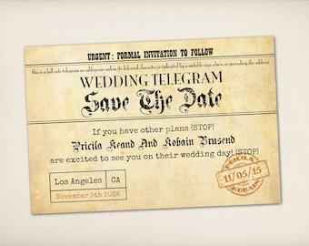 "Save The Date, Telegram Vintage Retro Wedding Save The Date Card, 4"" x 6"" Postcard PRINTS (STD1)"