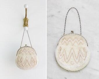vintage 1920s beaded purse   20s art deco flapper purse   white evening bag