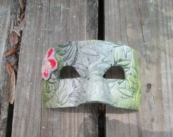 sage green mask, ooak, handmade, Costume mask, Mardi Gras Mask, one of a kind, Masquerade ball,