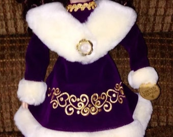 "Collectible Ceramic 17.5"" Doll In Purple Dress - Limited Edition"