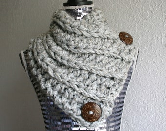 Gray Grey Marble Tweed Extra Thick Chunky Cable Scarf Crochet Cowl Neckwarmer Scarf with 2 Large Coconut Button, Ready to Ship