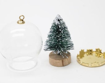 6 set of glass globe shape pendant with gold bail and setting bottom-7556- with Christmas tree