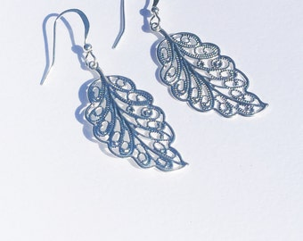 Small SILVER Filagree Leaf Earrings, Gifts for her, gifts under 10, Sale Earrings, Sale Jewelry, Nickel Free, Hypoallergenic,