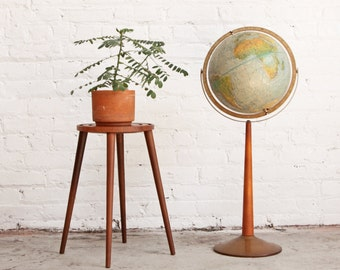 World Globe Floor Stand Mid Century