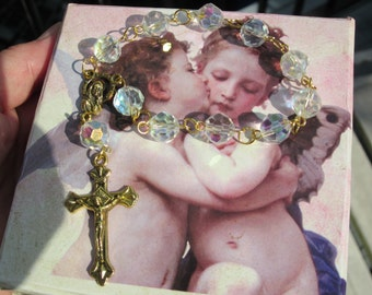 Handmade Decade ROSARY Aurora Borealis CRYSTAL Rock bead w. Virgin Mary & stars center medal
