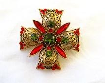 Emmons Maltese Cross Brooch Vintage Malta Cross Rhinestone Couture Costume Jewelry