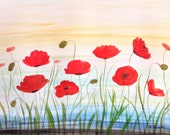 Poppies painting poppies watercolour red flowers, floral painting, original painting, poppies art, wall art, home decor, 16 X 12 inches