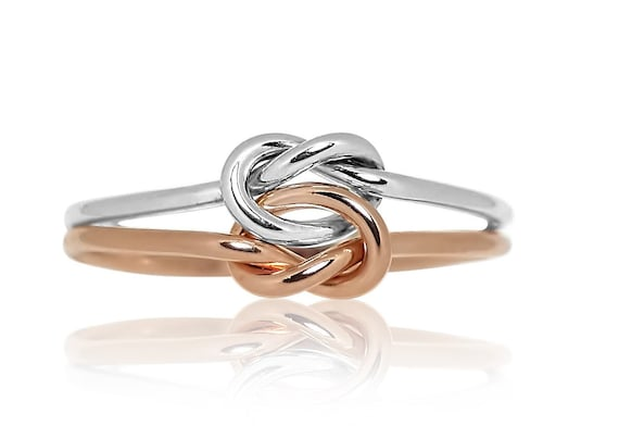 Stacked Knot Rings- Sterling Silver and Rose Gold