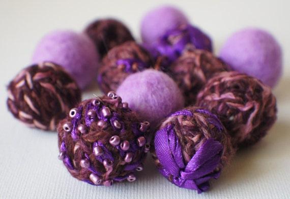 Felt Beads Extra Large Beads Purple Shades Beadsd Beads