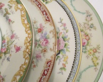 Vintage Mismatched China Salad Plates for Weddings,Tea Party,Bridal Luncheons,Showers,Hostess Gift,Bridesmaid Gift - Set of 4