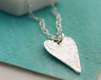 Handmade Silver Necklace - Textured Heart Necklace - Silver Heart Necklace - Heart Shape Jewellery N210-SS
