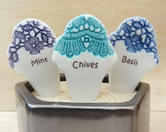 Ceramic herb markers. Garden stakes, garden markers, herb stakes. Gift for gardener.
