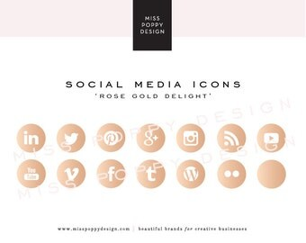 Social Media Icons - PNG Files - for Blogs & Websites - Rose Gold Delight - Metallic