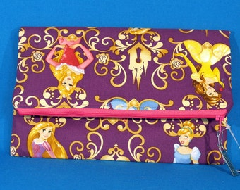 Sale! Disney Princess fabric clutch - foldover clutch -  foldover clutch bag -  Disney princesses -