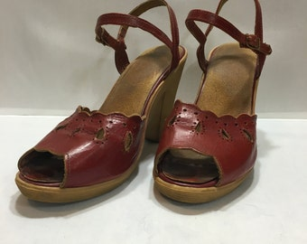 1970 Red Leather Wedge Sandals (Made by Frank Sbicca)