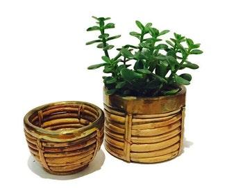 Vintage Coiled Bamboo & Brass Baskets Au Natural Bowls Brass Trim Planter Pots India Set Bohemian Home meets Coastal Cottage