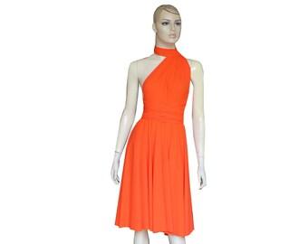 Convertible bridesmaid dress Orange short infinity twist wrap prom dress XS-5XL