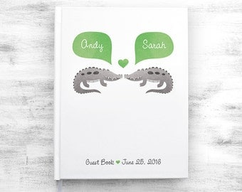 ALLIGATOR Wedding Guest Book, Crocodile Wedding Guestbook, Jungle Animal Wedding Book, Custom Guestbook, Personalized Wedding Notebook