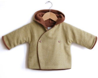 Winter Hoodie fleece jacket for toddlers and baby. Warm and cozy, green wool. Sizes NB -> 4T - HAUKE brown - alualiule - Alua Liulé
