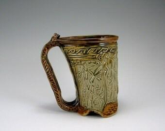 Bamboo, Dragonfly Mug, Carved Hand-built stoneware mug (#19)
