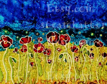 field of poppies original alcohol ink relief art print