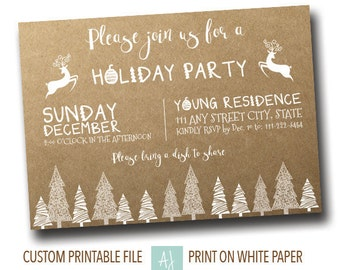 Rustic Holiday Party Invite- Printable Holiday Party Invitation- Christmas Party Invite- Digital File