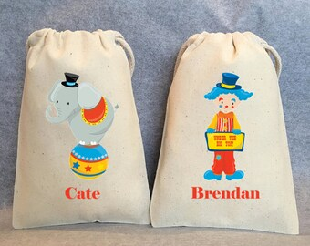 "Circus party, circus party favor bags, under the big top, bags 4"" by 6"" SET of 6"