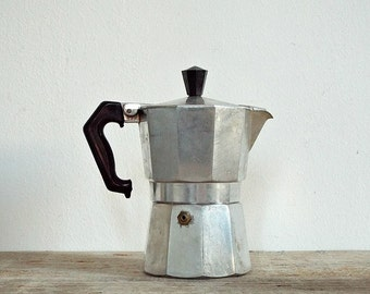 EXPRESSO COFFEE MAKER - vintage expresso machine, moka maker, Italian coffee, Bialetti, aluminium, hiking trip, camping equipment