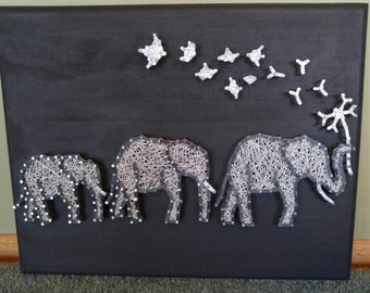 3 Safari Elephants with Flower and Birds, String Art