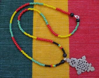 Ethiopian Coptic Cross Necklace w/ Rasta Red Gold & Green Beads: Ethiopia Crosses