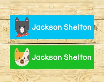 80 Custom Iron on Clothing Labels Personalized Iron on Clothes Tags Daycare Name Labels School Camps - Uncut - Boy Kitty Cats