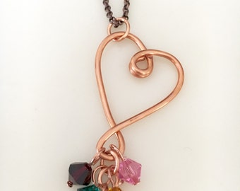 Custom Mother's Birthstone Necklace, Copper Wire Heart Pendant, Swarovski Crystal Charms, Grandmother's, Personalized