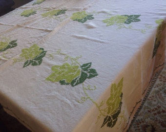 Embroidered Linen Kitchen Tablecloth Cross Stitch Embroidery Green Ivy Rectangular 48x64 Hand Embroidered