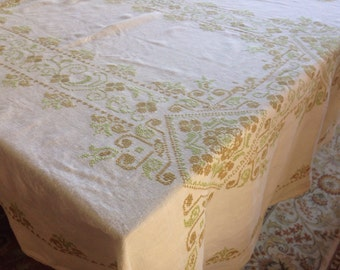 Vintage Linen Kitchen Tablecloth Handmade Embroidery Cross Stitch 46 Inches by 62 Inches