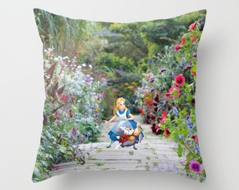 Alice in Wonderland with the White Rabbit Pillow Cover Indoor or Outdoor