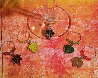 Autumn Leaves Wine Charms - Set of 5 - WC-009