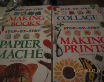 Set of Art Four Books Step By Step Kingfisher Paper Papier Mache Making Prints Collage Making Books