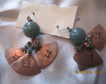 Beautiful Copper Stone Earrings Native American Mexican