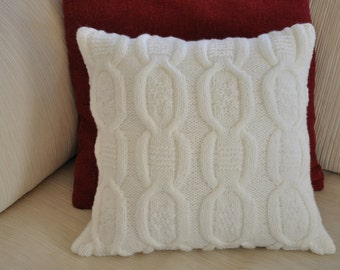 Pure White Cable Knit Pillow Christmas Cover, Throw Pillow, White Decorative Pillow, Hand  Knit Pillow Case, Knit Cushion Cover