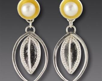 Gold Silver Earrings Pearl Post Dangle Pattern Texture – 'Framed Leaf'